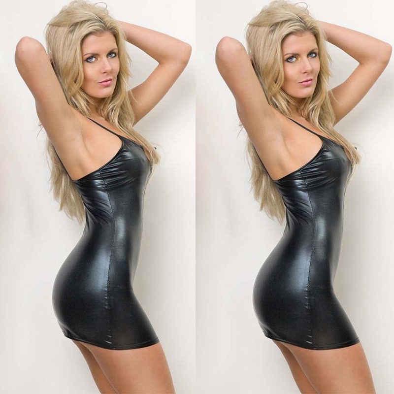 2019 mais novo quente sexy magro ajuste feminino wet-look pvc falso couro bodycon vestido noite club wear vestidos