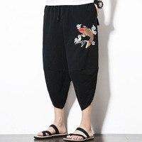 #4567 Summer Black Cotton Linen Pants Men Plus Size 5XL Embroidery Japanese Streetwear Trousers Retro Sweat Pants Dropshipping