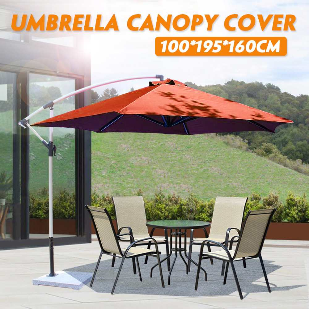 Garden Umbrella Canopy Cover Hexagon Waterproof Dustproof Cantilever Outdoor Garden Banana Umbrella Shield Brown Sun Shelter
