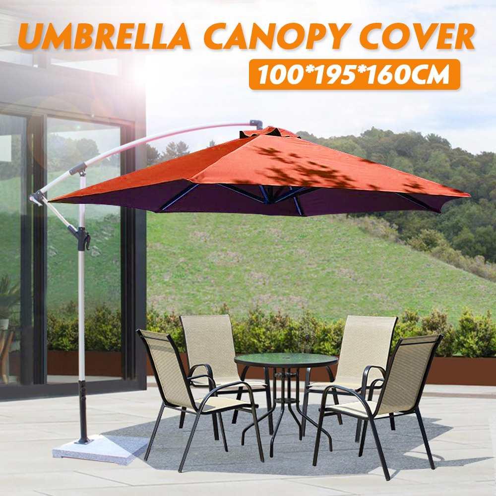 Garden Umbrella Canopy Cover Hexagon Waterproof Dustproof Cantilever Outdoor Garden Banana Umbrella Shield Brown Sun Shelter