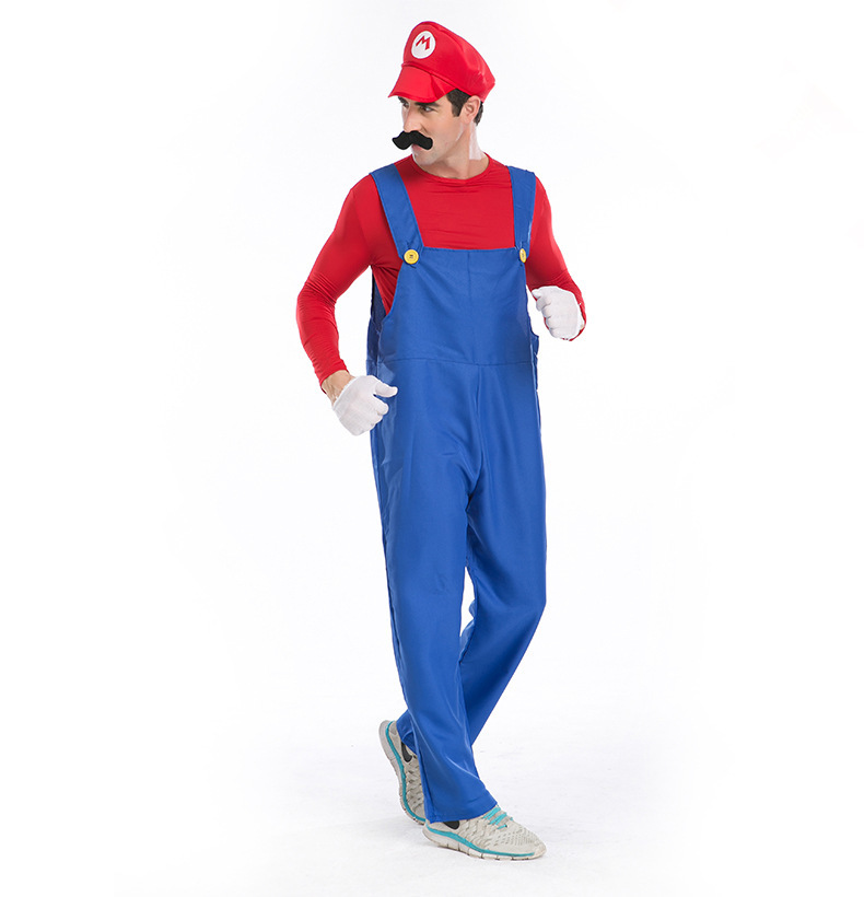 Hot Genuine Deluxe Adult Super Mario Luigi Brothers Plumber Costume High Quality Halloween Party Dress Up Men Jumpsuit Cosplay