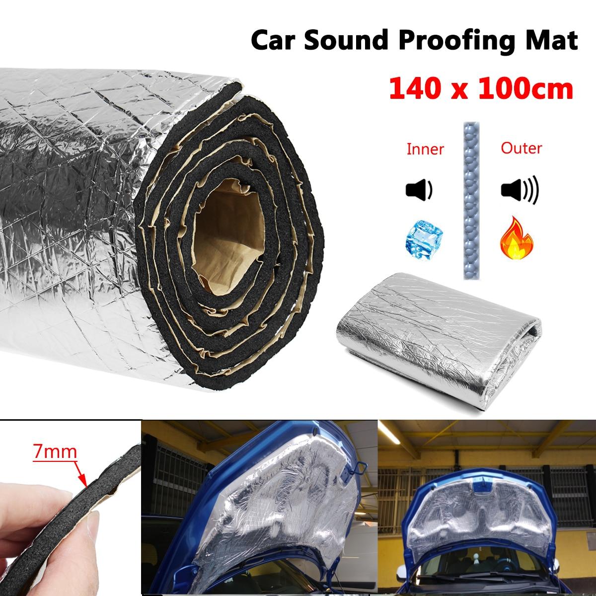 Car Hood Engine Firewall Heat Mat Deadener Sound Insulation Deadening Material Aluminum Foil Sticker 140cm X100cm