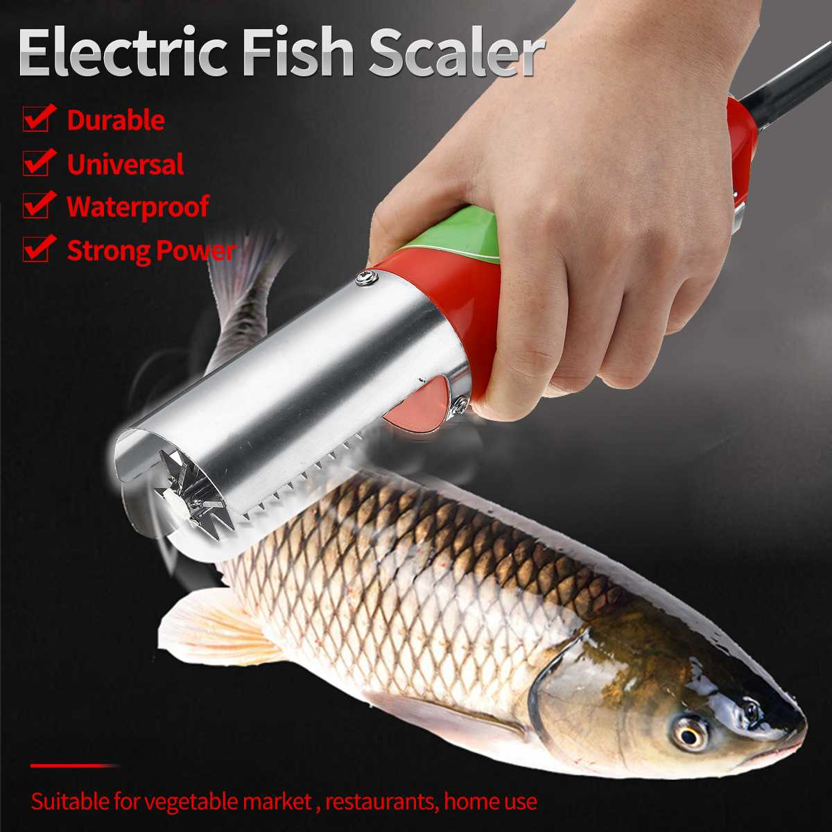 110V-220V Electric Fish Scale Scraper Fishing Scalers Clean Easy Fish Stripper Remover Cleaner Descaler Waterproof Tool110V-220V Electric Fish Scale Scraper Fishing Scalers Clean Easy Fish Stripper Remover Cleaner Descaler Waterproof Tool