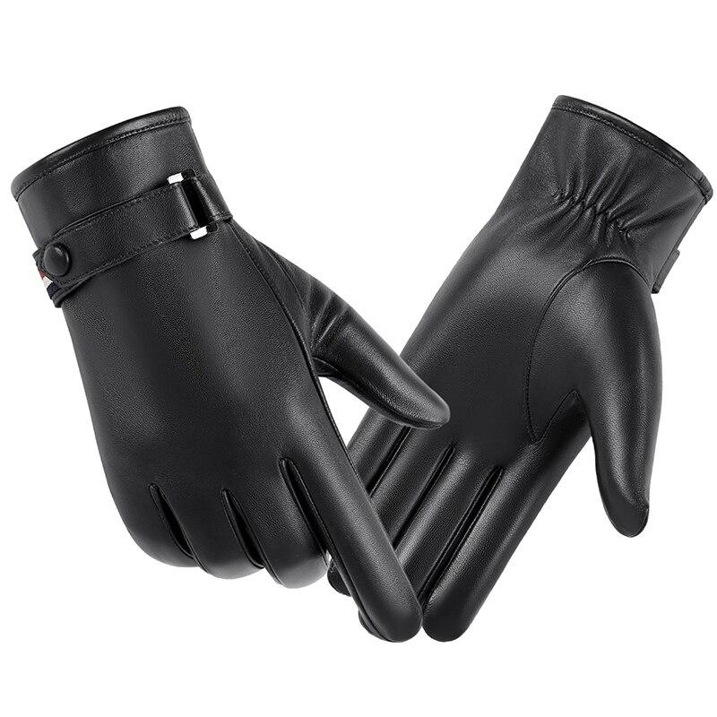 Gants en cuir véritable homme hiver chaud en peau de mouton téléfinger gants ajouter velours épais chaud gants hommes écran tactile gants MLZ115 - 2