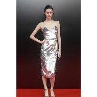 Sexy Silver Sequin Dress 2018 Deep V Neck Spaghetti Strap Midi Party Dress Bodycon Night Club Dress Vestido Lentejuelas Robes