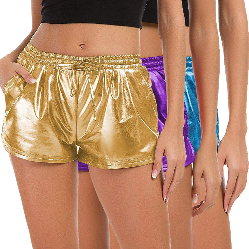 NiceMix 2019 Summer European And American New Style Women Leisure Hot S Drawstring Brig  High Waist Shorts Gold Sliver Metal