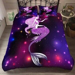 Image 1 - طقم سرير 3D لحاف مطبوع غطاء طقم سرير البحر حورية البحر المنسوجات المنزلية للبالغين نابض بالحياة أغطية مع المخدة # MRY17
