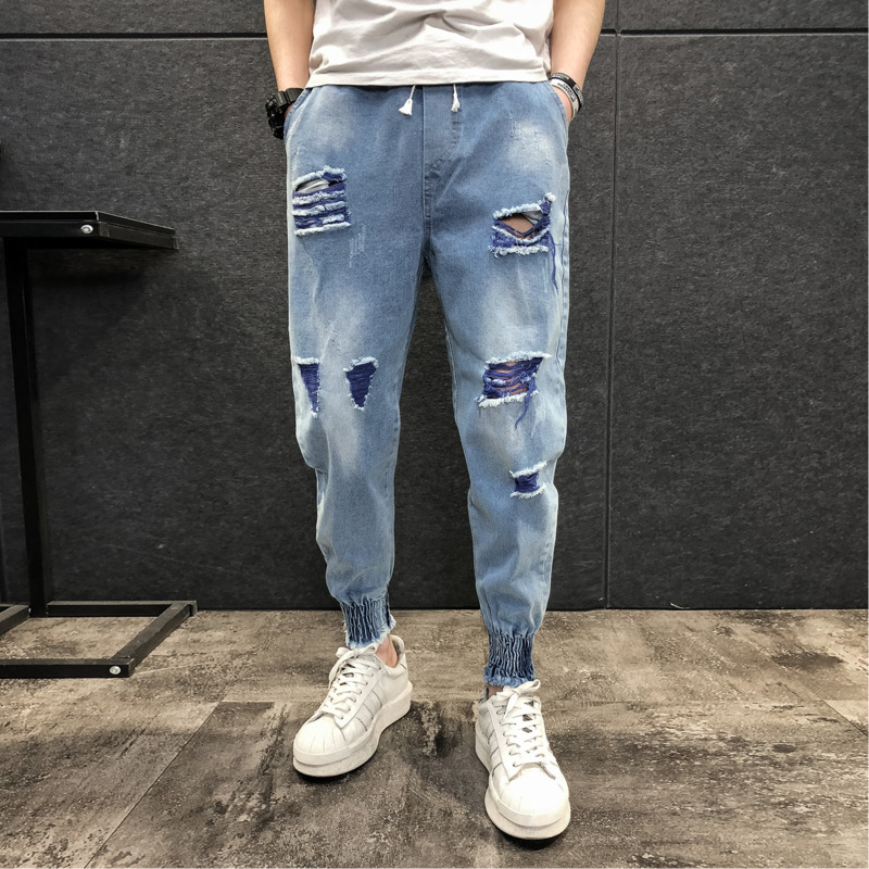 Summer New Jeans Men Fashion Wash Solid Color Tear Hole Casual Denim Pants Man Streetwear Hip Hop Loose Trousers Male Clothes