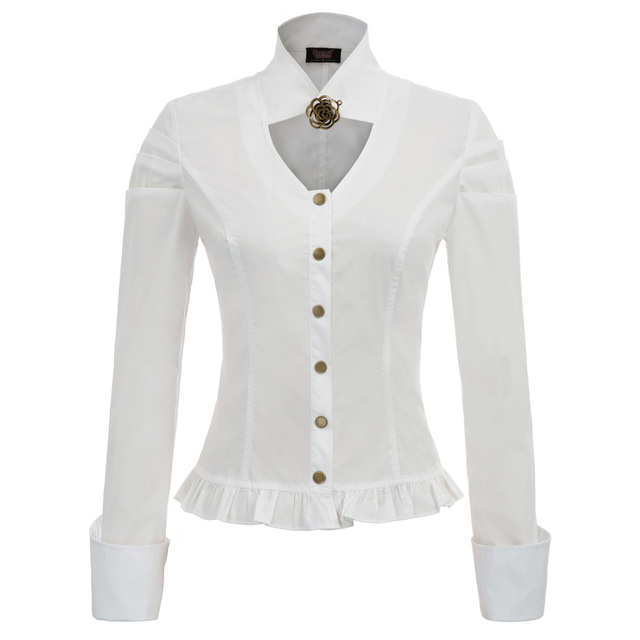 c5c8f6b608d new chic shirts Women vintage Steampunk gothic pure color Long Sleeve Stand  Collar Button Placket Frilled ruffle Hem Shirts lady-in Blouses   Shirts  from ...