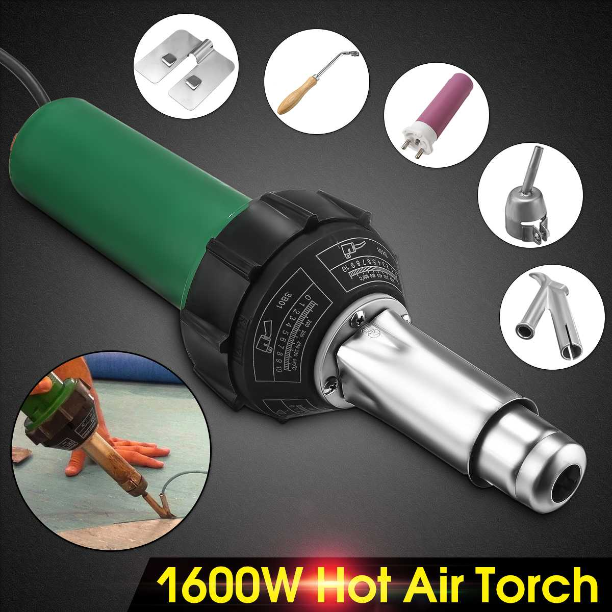220V 1600W/1080W 50Hz Electronic Hot Air Guns Plastic Welding Torch Welder Heat Hot Tools Kit + Nozzle Welding Machine