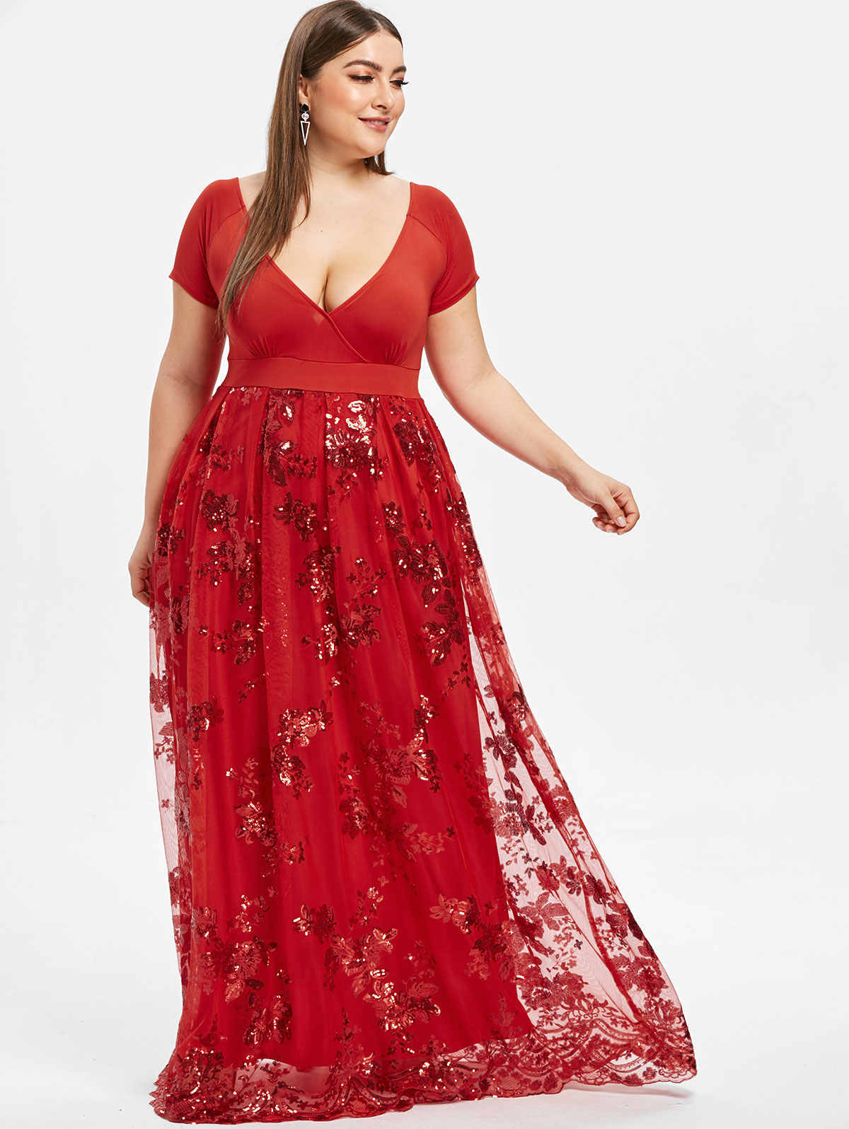 Wipalo Plus Size Dress Women Sexy Deep V Neck Short Sleeves Floral Sparkly  Maxi Dresses Elegant 01d4db4bbd12