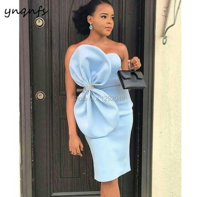 YNQNFS E8 New Arrival Satin Dress Party Big Bow Knee Length Sky Blue Cocktail Dress 2019