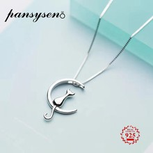 PANSYSEN Pure 925 Sterling Silver Cat Charm Pendant Necklaces for Women New Fashion Jewely Small Chokers Necklaces Fine Jewelry(China)
