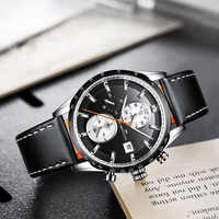 MEGALITH Top Brand Luxury Man's Quartz Wristwatch Waterproof Fashion Sports Chronograp Leather Mens Watches Watch For Male Clock