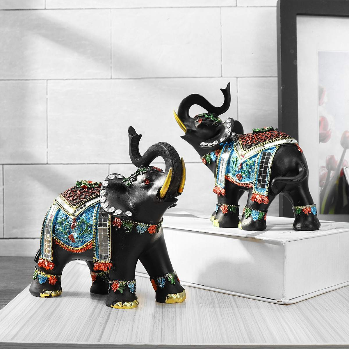 1Pcs Elephant Resin Home Decoration Right Or Left Home Decor Figurines Art Crafts For Home For Coffee Bar