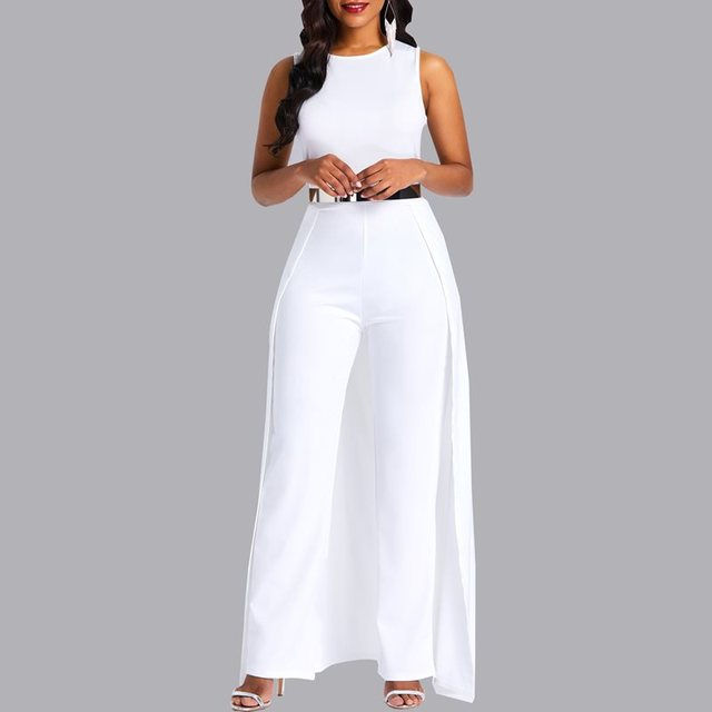 f1e94129e890 Kinikiss Spring Women Jumpsuits Women Round Neck Sleeveless Summer Jumpsuit  2018 Office Work Wear Elegant Wide Leg Jumpsuit