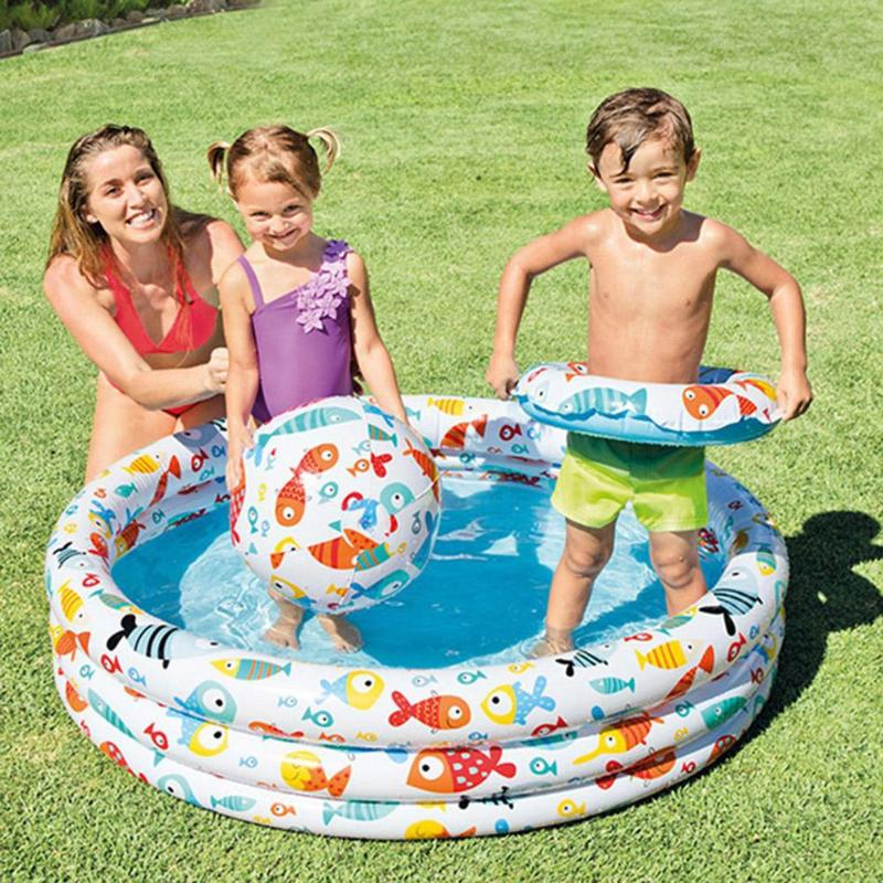 Portable Indoor Outdoor Baby Swimming <font><b>Pool</b></font> Air Cushion Inflatable Bathtub Round Basin Summer <font><b>Water</b></font> <font><b>Pool</b></font> Toys for Children Play image