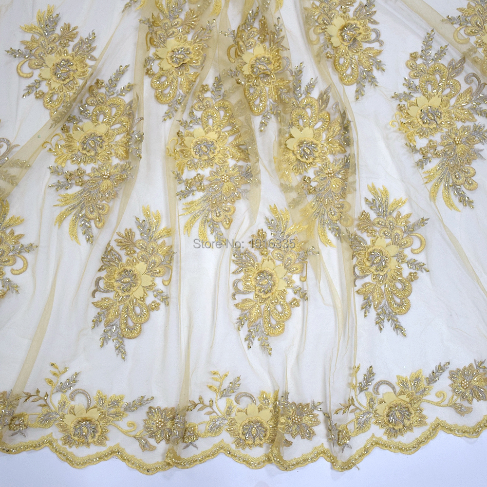 2019 High Quality Lace Latest African Lace Up Fabric With Pearls Wedding Nigerian French Lace Fabric