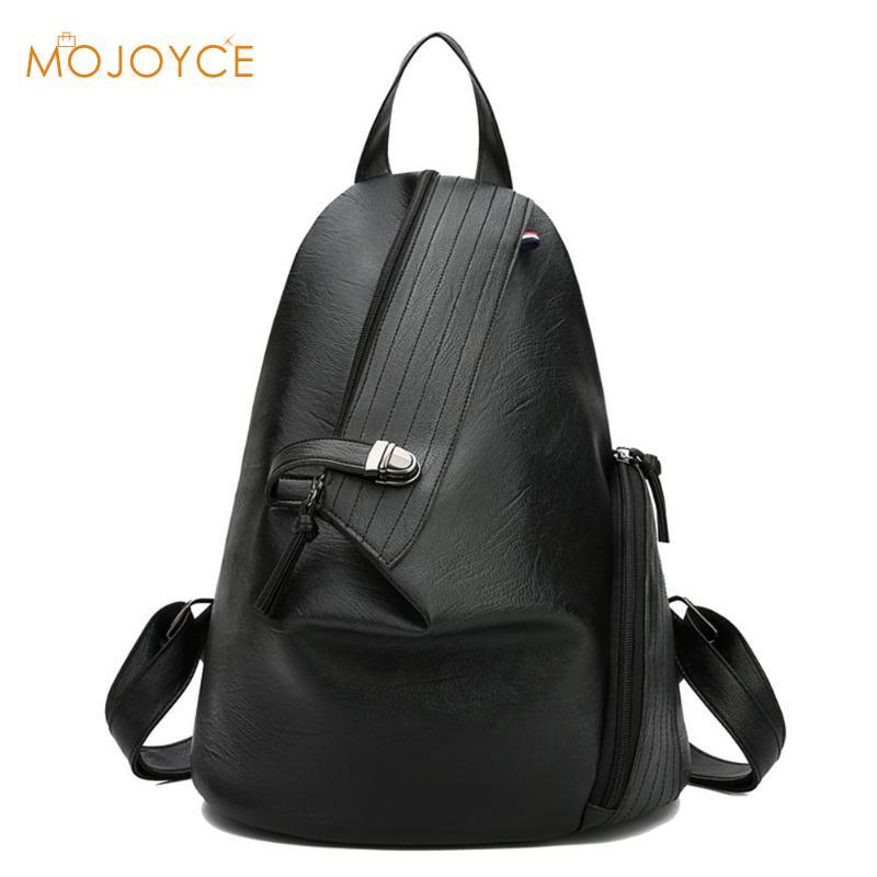 Leather Irregular Solid Color Backpacks Women Travel Shoulder School Bags Female Shoulder Bags For Teenage Girls Travel Backpack