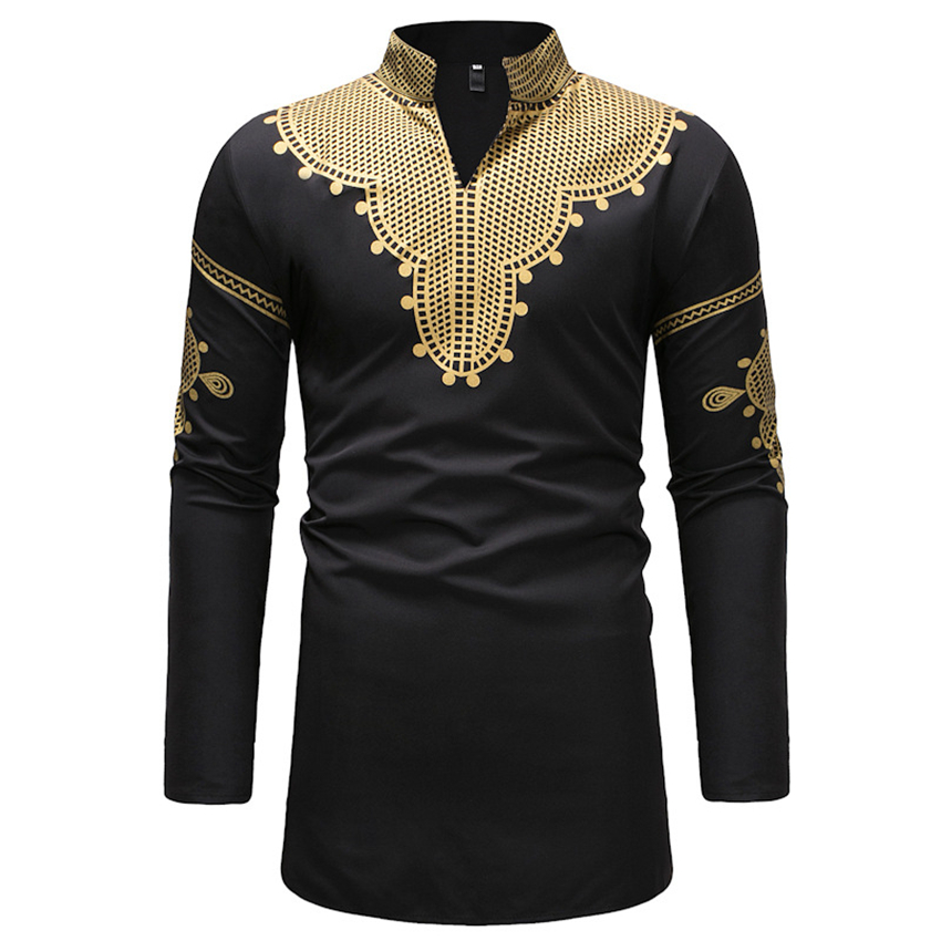 New 2019 African Dresses for Men Plus Size Rich Bazin Fashion Dashiki V-neck Long Tops Man's Print Shirt Africa Clothing