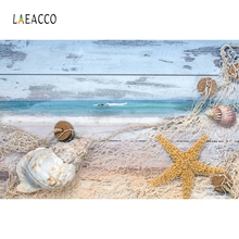 Laeacco Wooden Starfish Conch Fishing Net Backdrop Photography Backgrounds Customzied Photographic Backdrops For Photo Studio