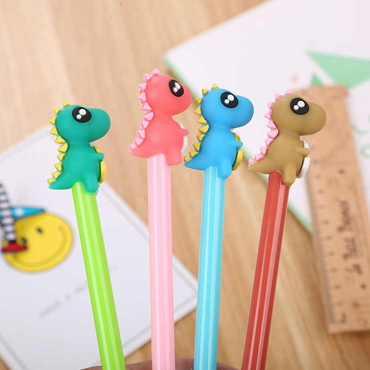 Creative Stationery Dinosaur Silicone Head Gel Pen Cute Cartoon Learning Office Water-Based Pen Manufacturer Direct