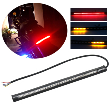 Motorcycle Light Bar Strip 2835 SMD 48 LED Red Amber Color Brake Stop Turn Signal Tail Moto License Plate Integrated