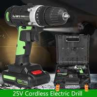 Drill 3/8'' 25V 3.0Ah Cordless Electric Impact Wrench Kit Screwdriver 2 Battery Li Battery Hand Drill Installation Power Tools