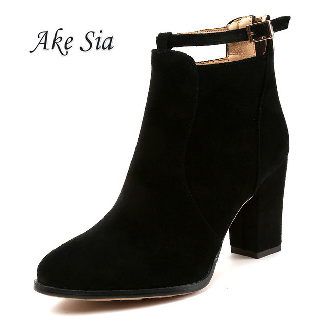 2019 new winter women's fashion shallow mouth with Flock high heel boots ladies sexy comfortable Zip Keep warm booties mujer c94