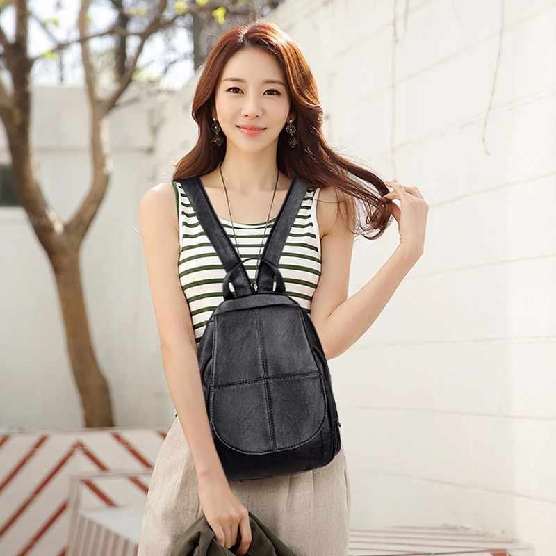 Женские Кожаные Рюкзаки Mochilas женский рюкзак школьные рюкзаки для девочек Женский рюкзак однотонный большой емкости для путешествий Новый
