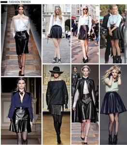 Image 5 - אופנה נשים של מיני חצאית בציר למתוח גבוהה מותן עור מפוצל סקטים התלקחו קפלים