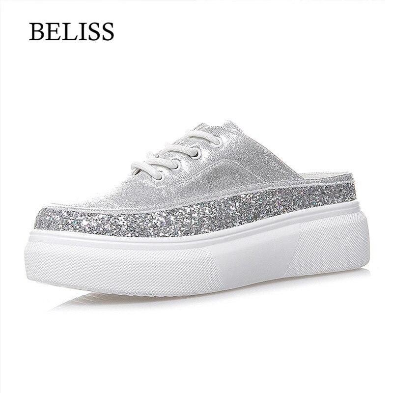 BELISS été mode femme chaussons chaussures plate-forme Wedge chaussons pour femmes Mules sans lacet décontracté plat glisse à lacets mocassins S47