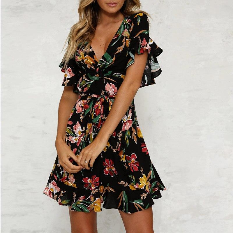 0d98faaec58 2019 для женщин Мини платье ремень цветочный принт пляжные стиль линии  оборками повседневное дамы костюм Мода Femme одежда летние платья