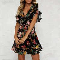 Vestido de verano 2019 mujeres Correa estampado Floral playa A línea volantes señoras traje moda mujer ropa Mini vestidos ropa mujer