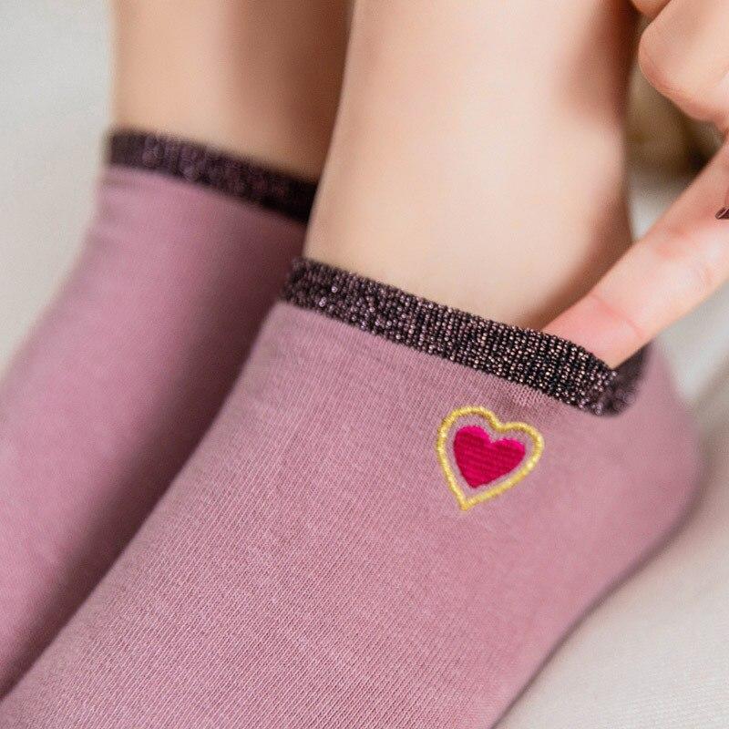 Glitter Fashion Shiny Colorful Heart Women Ankle   Socks   Spring Summer Bling Bling Cotton   Socks   Lovely Embroidery Cute Short   Socks