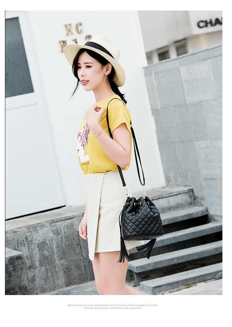 Модные из натуральной кожи винтажная сумка-мешок Малый Для женщин сумки кисточка сумка Crossbody мешок одного плеча кошельки