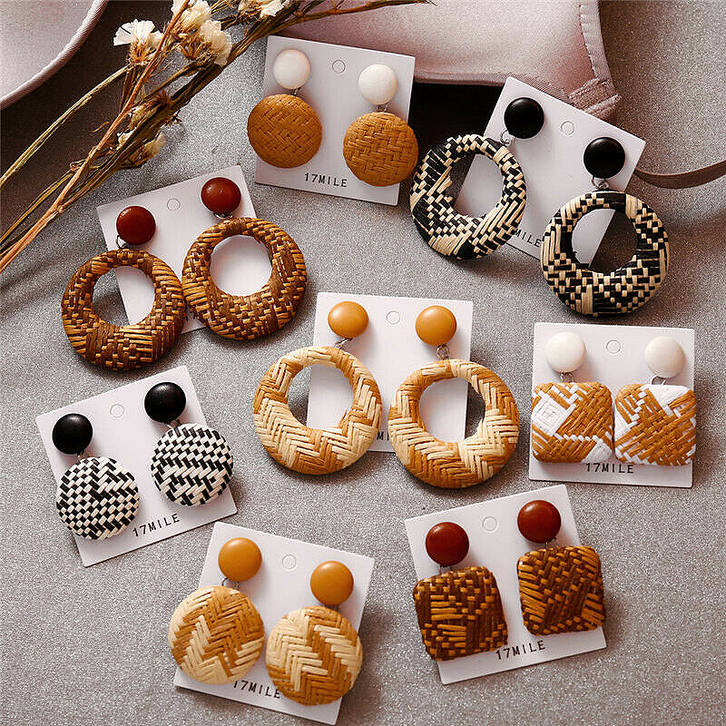 Rattan Dangle Fashion Jewelry Geometric Circle 2019 Wood Earrings Women Bamboo