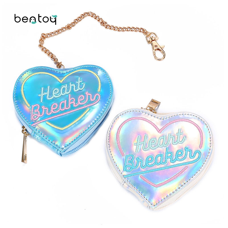 New Hologram Leather Purse Cute Womens Heart Wallet Laser Keychain Coin Purse Clutch Wallet Lady Card Holder Mini Small Bag