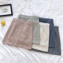Корейская Женская Полосатая посылка, Женская Повседневная трапециевидная тонкая юбка, женские мини-юбки, одноцветная юбка выше колена с высокой талией