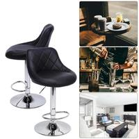 2 Pcs 360 Degree Rotation Bar Chairs Adjustable Rhombus Print Backrest With Backrest Lift and Rotating Chair Bar Furniture Kit
