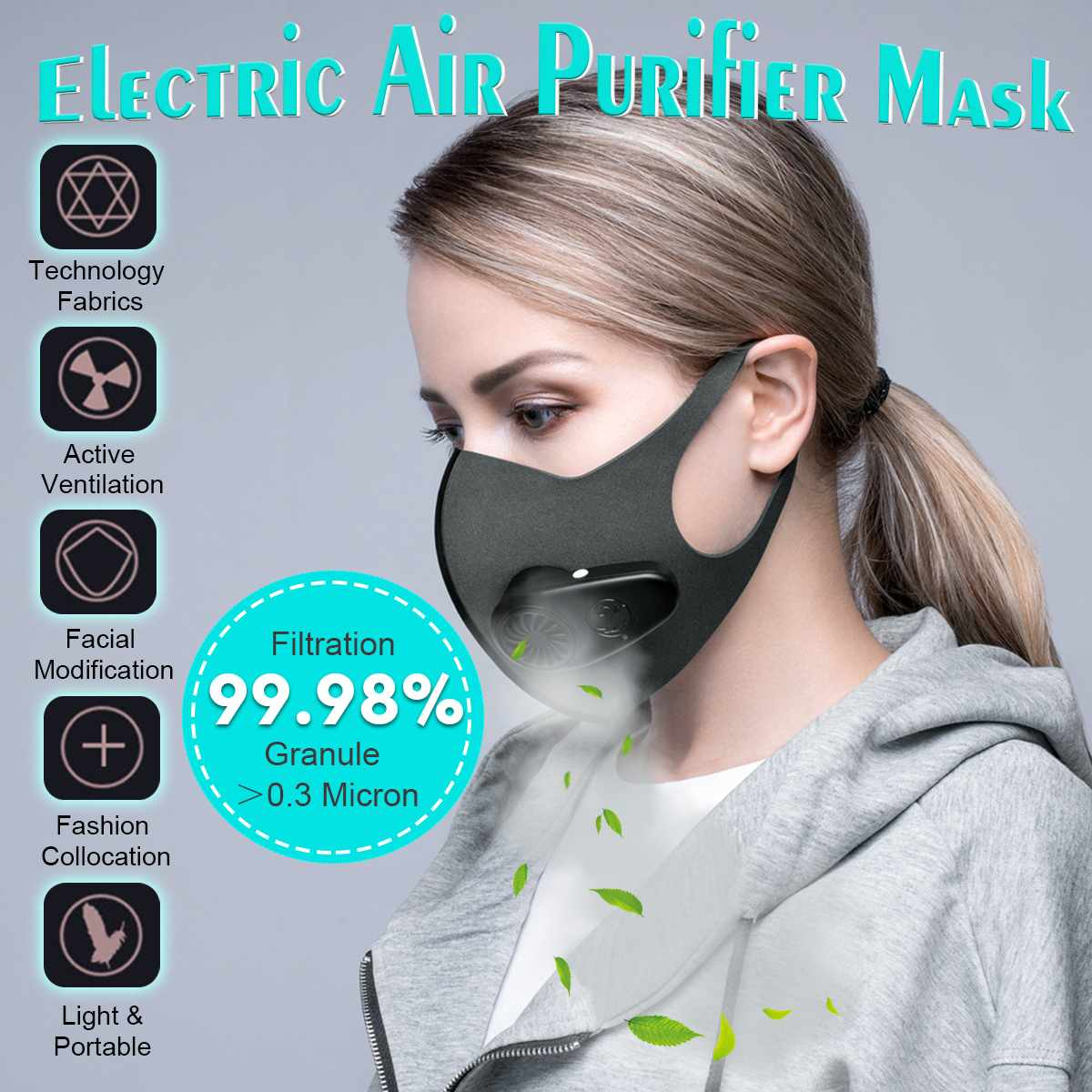 Anti-Pollution Air Mask PM2.5 600mAh  Filter With Fan Dust Mask Protective Rechargeable Purifier Air Breathing Haze Mouth Mask