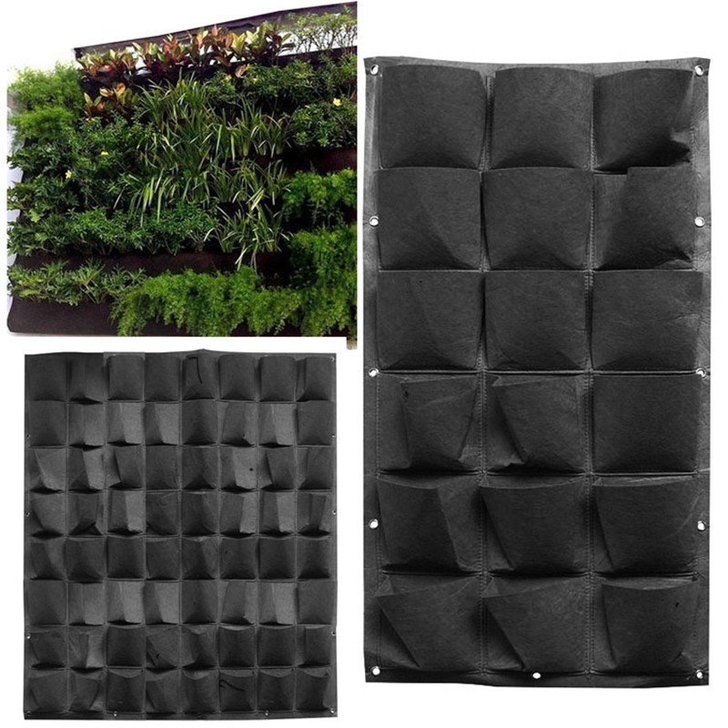 Wall Mount Hanging Planting Bags Home Supplies Multi Pockets Black Grow Bag Planter Vertical Garden Vegetable Living Garden Bag