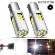 цена на 2pcs 1156 BAU15S PY21W 7507 LED Bulbs For Car Reverse Turn Signal Lights White Yellow Amber/Orange 3030 30 SMD Lamp DC 12V 24V