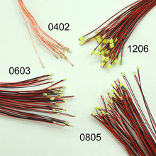 100pcs 3v LED Model Train HO N OO Scale Pre Soldered Micro Litz Wired LED 0402 0603 0805 1206 0201Leads 20cm Wires