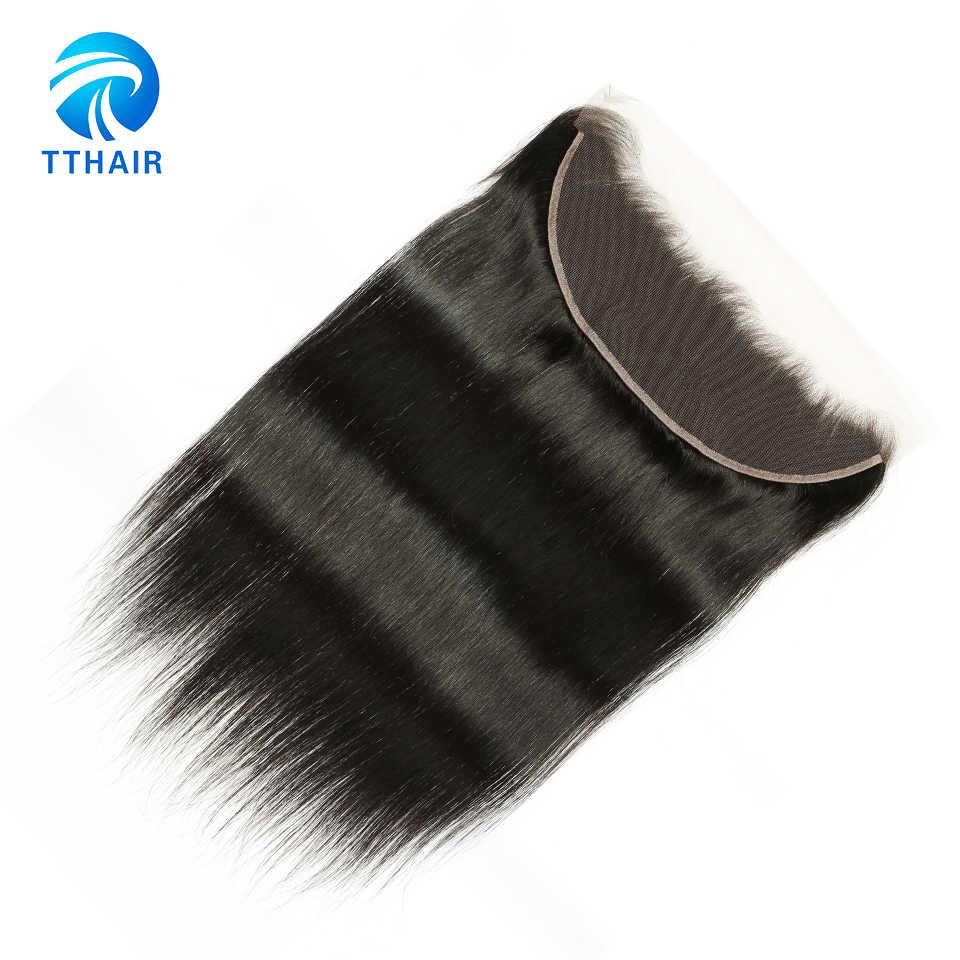 TTHAIR Малайзии прямые волосы уха до уха 13*4 синтетический Frontal шнурка волос натуральный цвет 130% плотность волосы remy Предварительно сорвал...