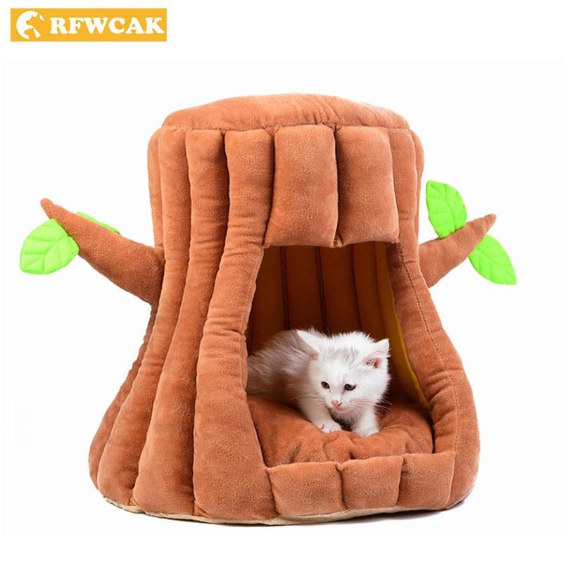 RFWCAK TreeNest sac de couchage profond chat maisons petit chat Pet chien lit tapis chenil Kitty chaud Semi-fermé maison arbre grotte fournitures pour animaux de compagnie
