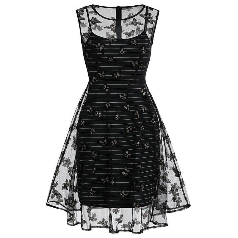 Ladies' Sexy Lace Two-piece Perspective Dress Round Neck Fashion Elegant Retro Print Sleeveless Party Banquet Dress