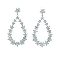 2019 AAA Cubic Zirconia CZ Dangle Flower Earrings for Women Bridal Wedding Prom Jewelry Accessories Gift CE10290