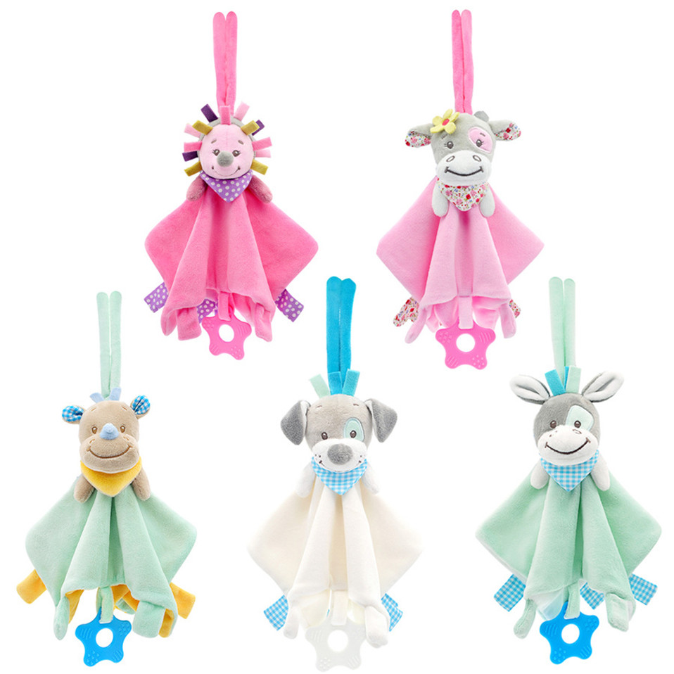Soft Newborn Baby Toys 0-12 Months Cartoon Animal Comforter Baby Rattle Toys Mobile Toys For Baby Educational Bebe Soothe