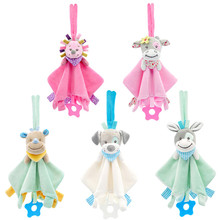 Soft Newborn Baby Toys 0-12 Months Cartoon Animal Comforter Rattle Mobile for Educational Bebe Soothe